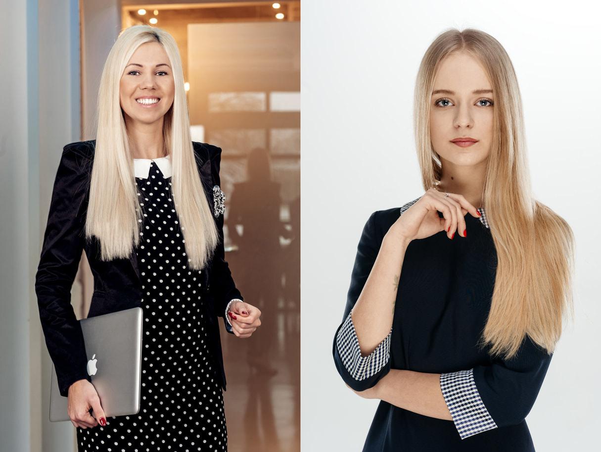 Деловой портрет женщины в офисе и студийная бизнес фотосессия сотрудника компании на белом фоне